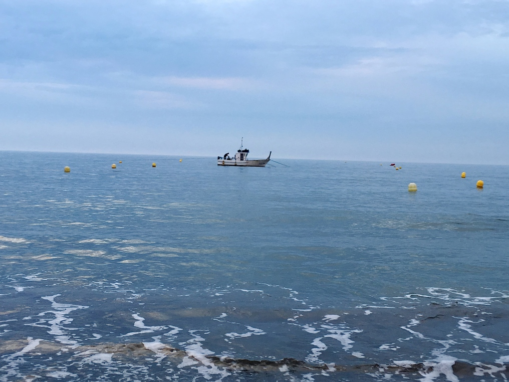 Päivän kalasaalis matkalla rantaan.