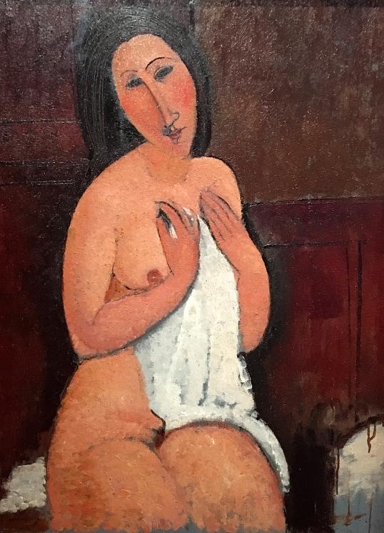 Istuva alaston ja paita, 1917.